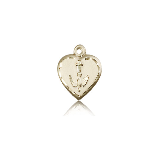 14KT GOLD HEART / COMMUNION MEDAL