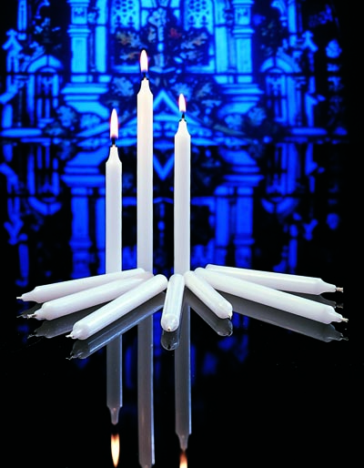 "Stearine Congregational Vigil Candles 17/32"" x 5-1/4"" with Drip Protectors"