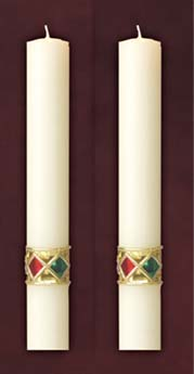 "Jewel Side Altar Candles 1-1/2"" x 12"""