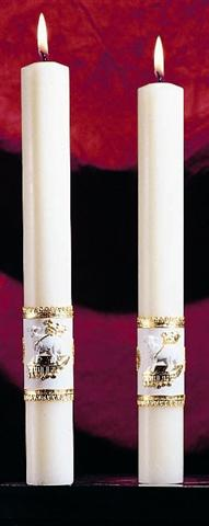 Ornamented Altar Candles - 1-1/2 x 12 (Pair)
