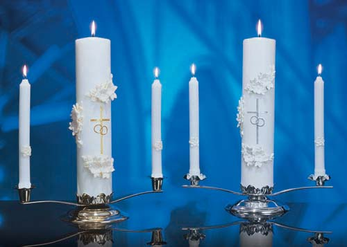 Holy Matrimony Side Candles - Silver/White