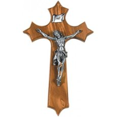 "9.5"" Olive Wood/Pewter Cross"