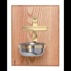 Holy Water Font Mounted on Oak Panel