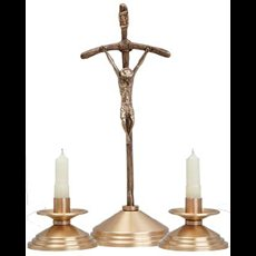 Crucifix and Candlesticks Set