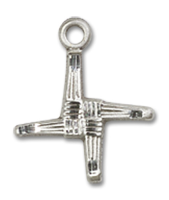 Sterling Silver St. Brigid Pendant Sterling Silver Lite Curb Chain