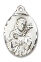 Sterling Silver St. Francis Pendant Sterling Silver Lite Curb Chain