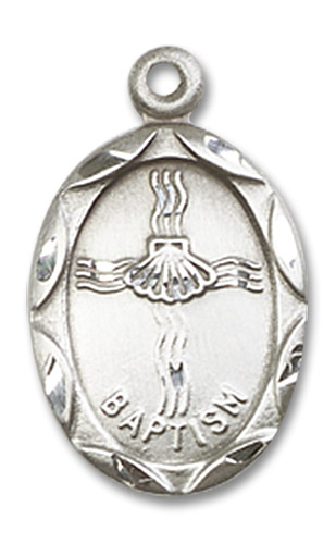 Sterling Silver Baptism Pendant Sterling Silver Lite Curb Chain