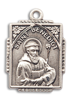 Sterling Silver St. Benedict Pendant 18 inch Sterling Silver Curb Chain