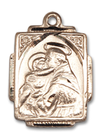 14kt Gold Filled St. Anthony Pendant 18 inch Gold Filled Curb Chain