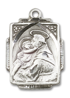 Sterling Silver St. Anthony Pendant 18 inch Sterling Silver Curb Chain
