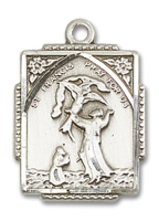 Sterling Silver St. Francis of Assisi Pendant 18 inch Sterling Silver Curb Chain