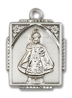 Sterling Silver Infant of Prague Pendant 18 inch Sterling Silver Curb Chain
