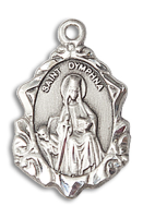 Sterling Silver St. Dymphna Pendant 18 inch Sterling Silver Curb Chain