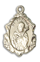14kt Gold Filled St. Francis Pendant 18 inch Gold Filled Curb Chain