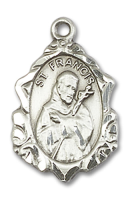 Sterling Silver St. Francis Pendant 18 inch Sterling Silver Curb Chain