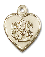 14kt Gold Filled Heart / Communion Pendant Gold Filled Lite Curb Chain