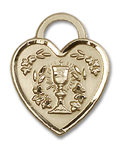 14kt Gold Filled Communion Heart Pendant Gold Filled Lite Curb Chain
