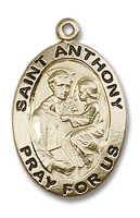 14kt Gold Filled St. Anthony of Padua Pendant GF Lite Curb Chain