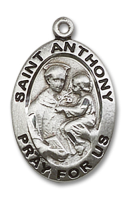 Sterling Silver St. Anthony of Padua Pendant Stainless Silver Lite Curb Chain