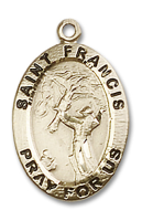 14kt Gold Filled St. Francis of Assisi Pendant GF Lite Curb Chain
