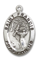 Sterling Silver St. Francis of Assisi Pendant Stainless Silver Lite Curb Chain