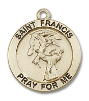 14kt Gold Filled St. Francis Pendant GF Lite Curb Chain