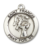 Sterling Silver St. Francis Pendant Stainless Silver Lite Curb Chain