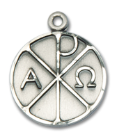 Sterling Silver Alpha & Omega Pendant 18 inch Sterling Silver Curb Chain
