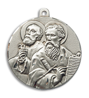 Sterling Silver St. Peter Pendant Stainless Silver Heavy Curb Chain
