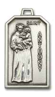 Sterling Silver St. Anthony Pendant Stainless Silver Heavy Curb Chain