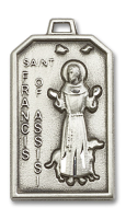 Sterling Silver St. Francis Pendant Stainless Silver Heavy Curb Chain
