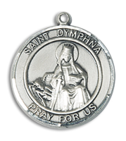 Sterling Silver St. Dymphna Pendant Stainless Silver Heavy Curb Chain