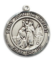Sterling Silver St. John the Baptist Pendant Stainless Silver Heavy Curb Chain