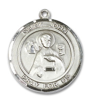 Sterling Silver St. John the Apostle Pendant Stainless Silver Heavy Curb Chain