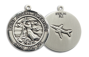Sterling Silver St. Joseph of Cupertino Pendant Stainless Silver Heavy Curb Chain
