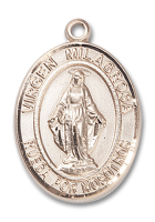 14kt Gold Filled Virgen Milagrosa Pendant Stainless Gold Heavy Curb Chain