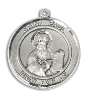 Sterling Silver St. Paul the Apostle Pendant Stainless Silver Heavy Curb Chain