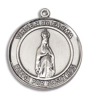 Sterling Silver Virgen de Fatima Pendant Stainless Silver Heavy Curb Chain