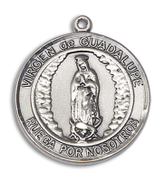 Sterling Silver Virgen de Guadalupe Pendant Stainless Silver Heavy Curb Chain