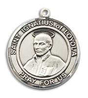 Sterling Silver St. Ignatius of Loyola Pendant Stainless Silver Heavy Curb Chain