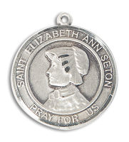 Sterling Silver St. Elizabeth Ann Seton Pendant Stainless Silver Heavy Curb Chain