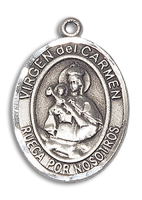 Sterling Silver Virgen del Carmen Pendant Stainless Silver Heavy Curb Chain
