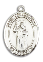 Sterling Silver St. Columbkille Pendant Stainless Silver Heavy Curb Chain