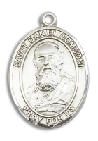 Sterling Silver St. Daniel Comboni Pendant Stainless Silver Heavy Curb Chain