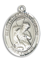 Sterling Silver Blessed Herman the Cripple Pendant Stainless Silver Heavy Curb Chain