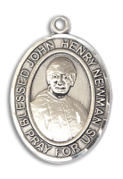 Sterling Silver Blessed John Henry Newman Pendant Stainless Silver Heavy Curb Chain