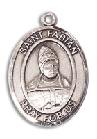Sterling Silver St. Fabian Pendant Stainless Silver Heavy Curb Chain