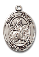 Sterling Silver St. Ephrem Pendant Stainless Silver Heavy Curb Chain
