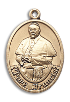 14kt Gold Filled Pope Francis Oval Pendant Stainless Gold Heavy Curb Chain
