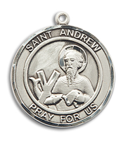 Sterling Silver St. Andrew the Apostle Pendant 18 inch Sterling Silver Curb Chain